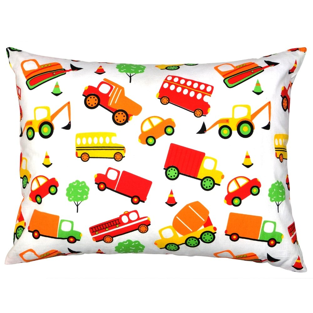 YourEcoFamily Toddler Pillow-14x19,Certified ORGANIC Shell w/Organic Cotton PillowCase -Soft,Colorful, Naturally Hypoallergenic (cars)