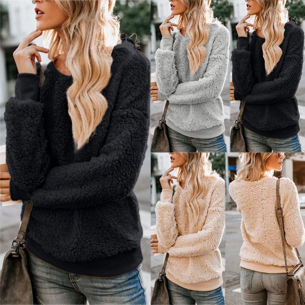 Amazon.com: Excellent Value Besde Womens Autumn and Winter Fashion Wild Elegant Solid Winter Warm Plush Blouse Fleece Sweatshirt Pullover Tops Shirt: ...