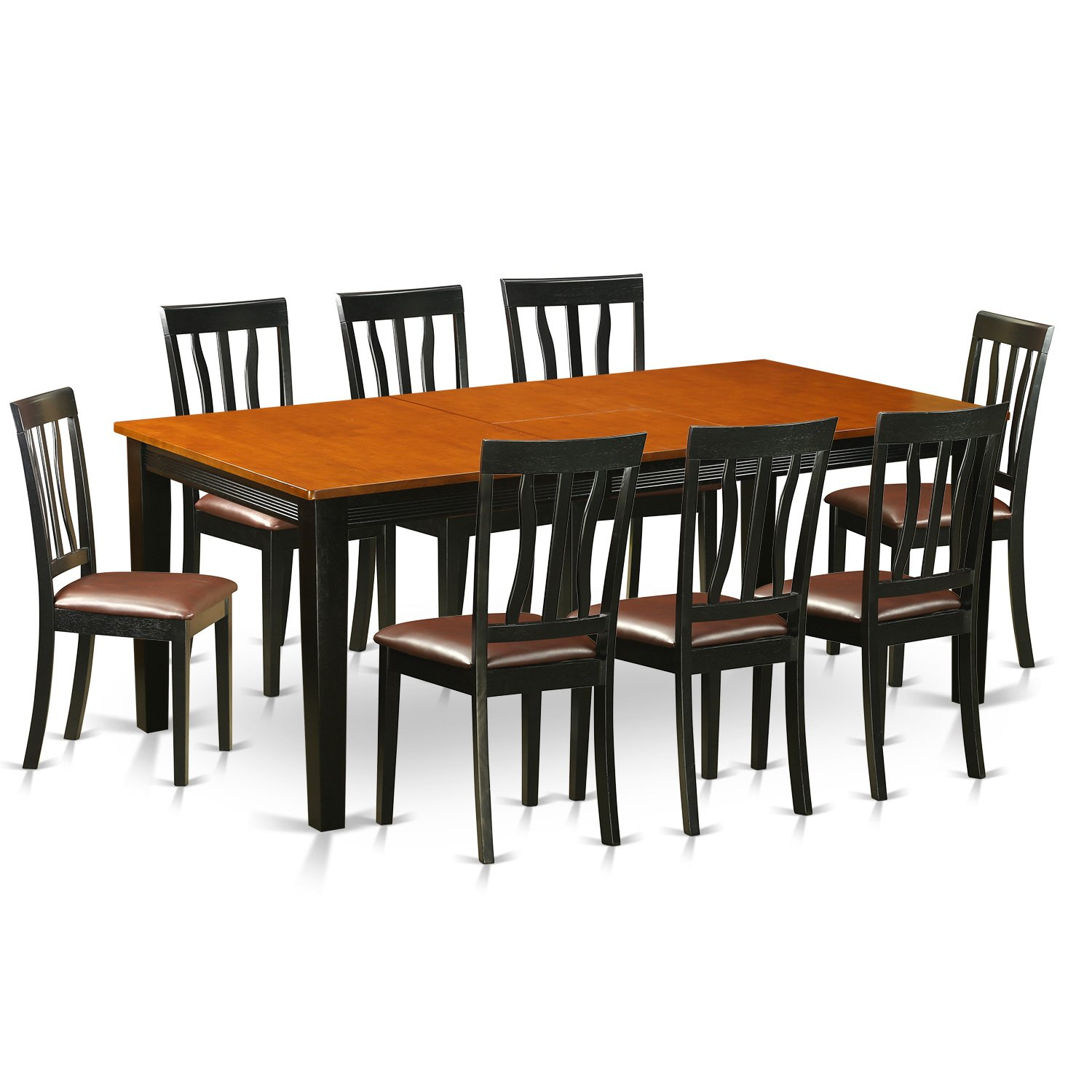 9 Piece Solid Wood Dining Set With Table And 8 Chairs: East West Furniture QUAN9-BCH-LC 9 Piece Dining Table With