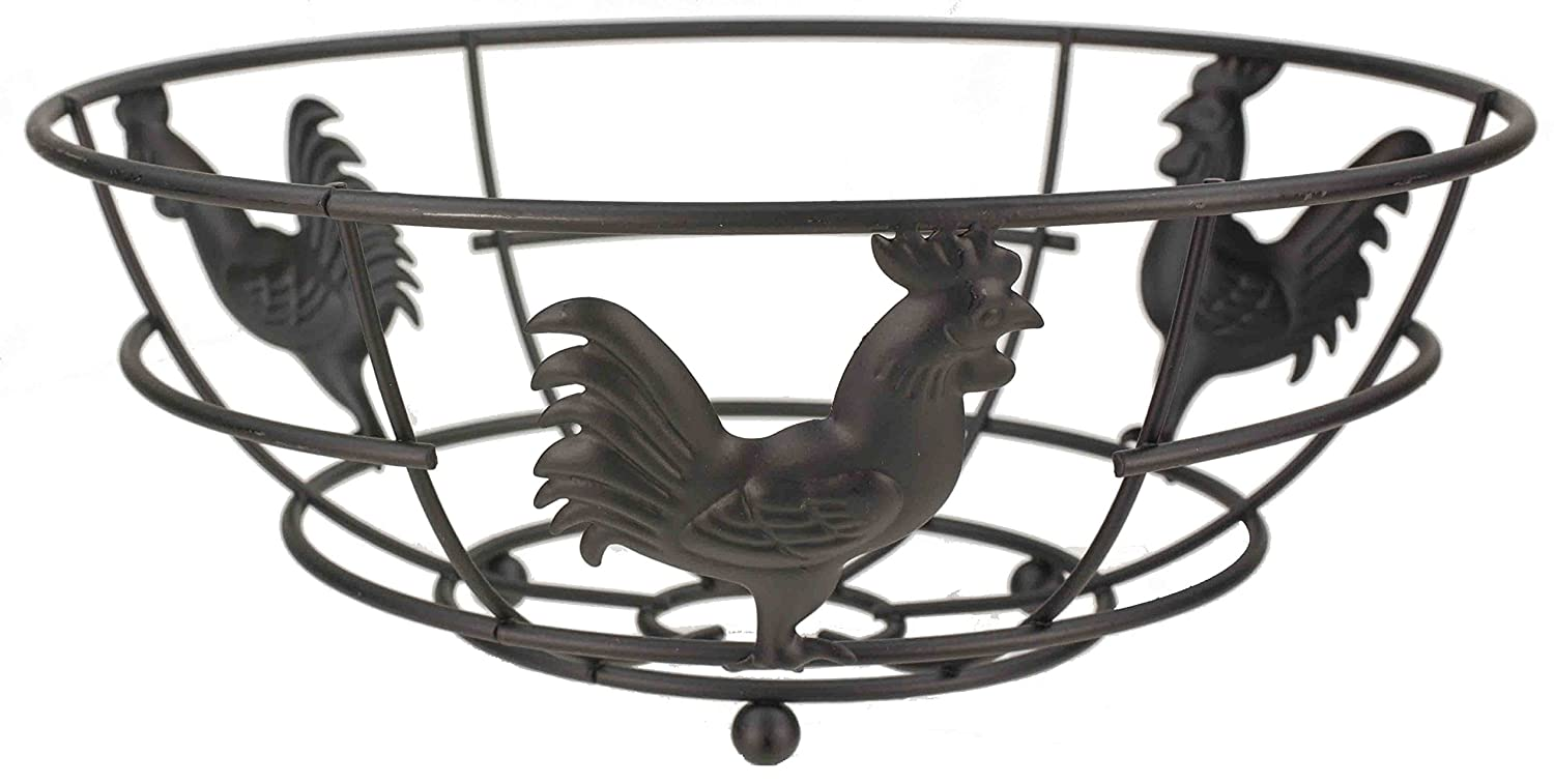 HOME BASICS Rooster Collection Fruit Bowl, Black HDS TRADING CORP RP01613