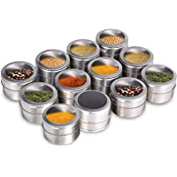 Upgrade Magnetic Spice Jars,Stainless Steel Spice Tins with Lid and Small Holes for Sprinkle Rust Free Easy to Clean…