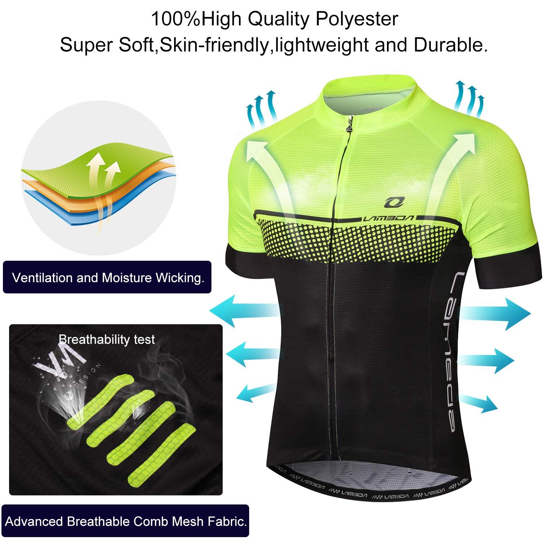 LAMEDA Full Zipper Cycling Jersey Long Sleeve with 3 Rear Pockets, Moisture Wicking Breathable Biking Shirt