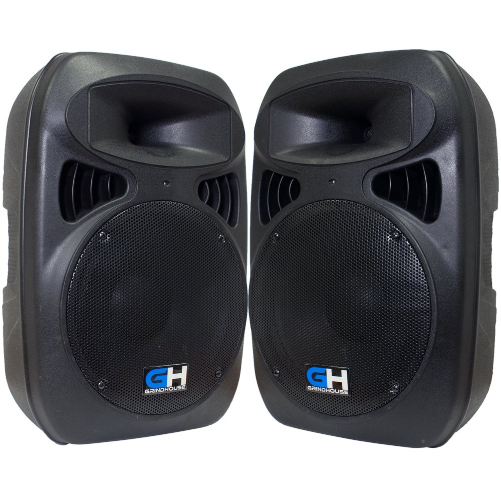Grindhouse Speakers - GH-P12-Pair - Pair of  Active 12'' PA DJ Speaker Cabinets - Powered 500 Watt each Loudspeaker for Pro Audio, Bands, DJ, Karaoke, club