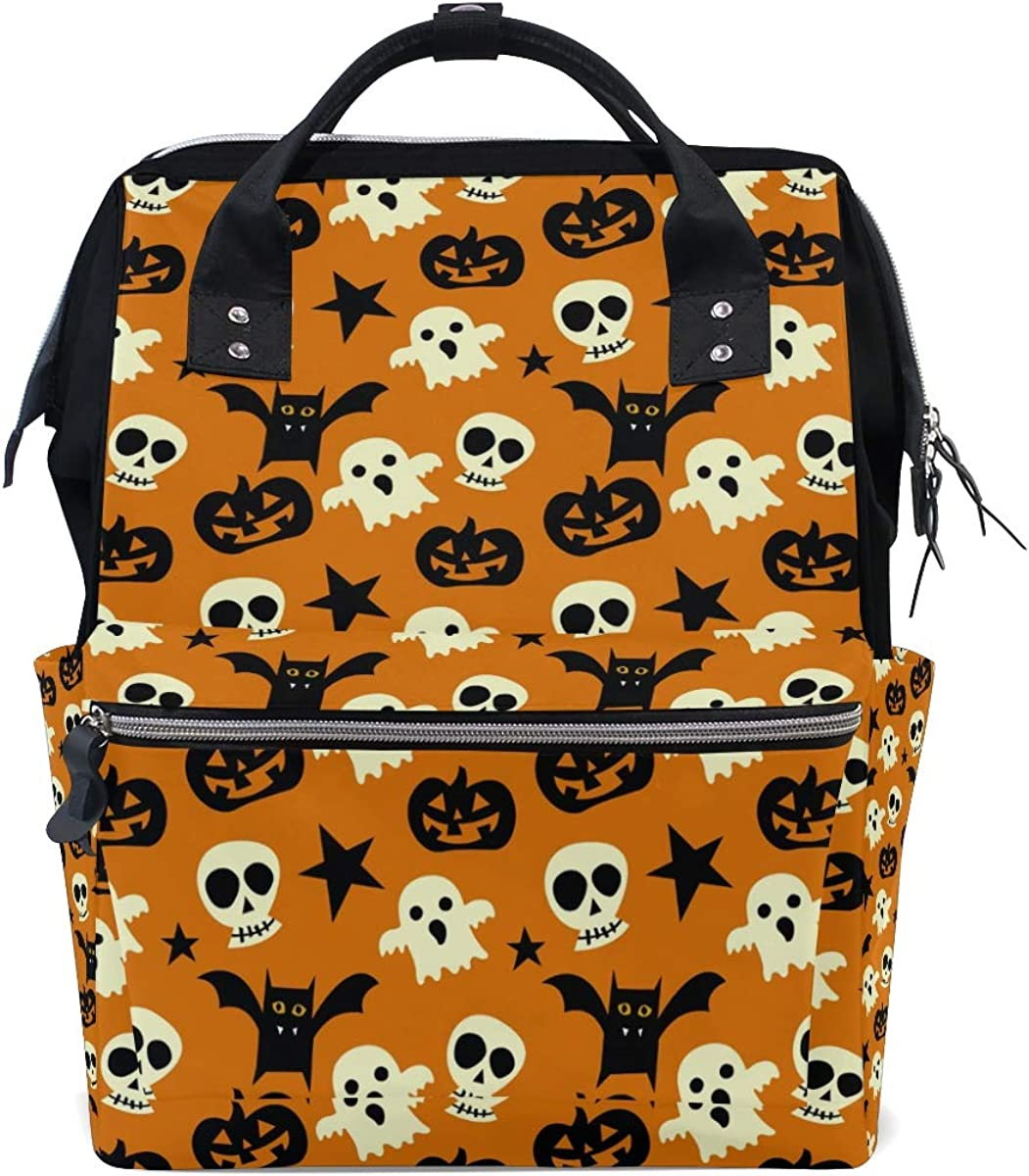 imobaby Halloween Spooky Pattern Changing Bags Large Capacity Handbags Canvas Shoulder Bag Backpack