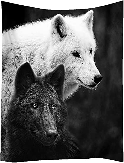 SXCHEN Hippie Tapestry Art Wall Hangings Tapestries Black White Wolves Wolf Animal 60 x90