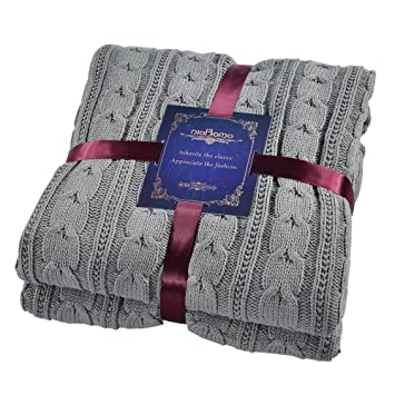 Amazon Niobomo Knitted Dual Cable Throw With Lining Home