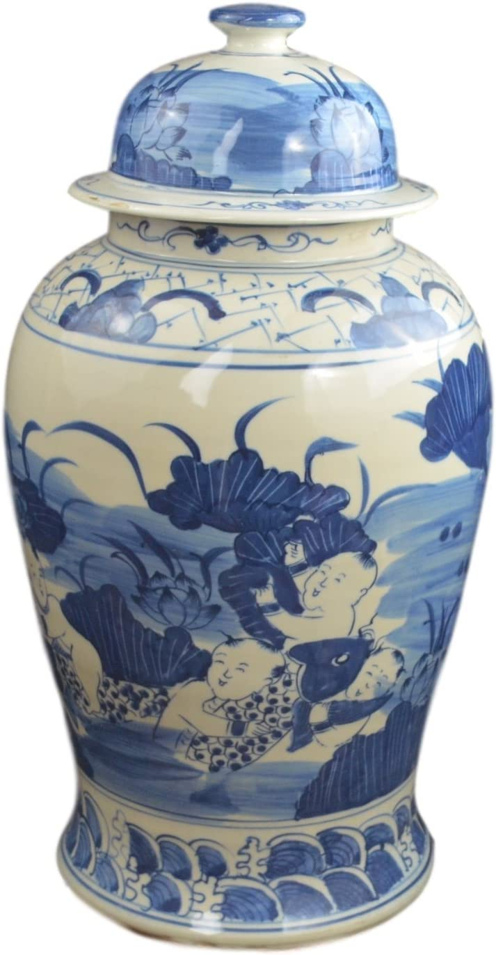 Festcool 19″ Antique Like Finish Blue and White Porcelain Children and Lotus Temple Ceramic Ginger Jar Vase