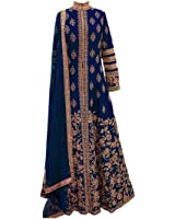Ethnic Empire Women Banglory Silk Anarkali Semi-Stitched Salwar Suit (Ethnic_FlexER11152_Blue_Free Size)