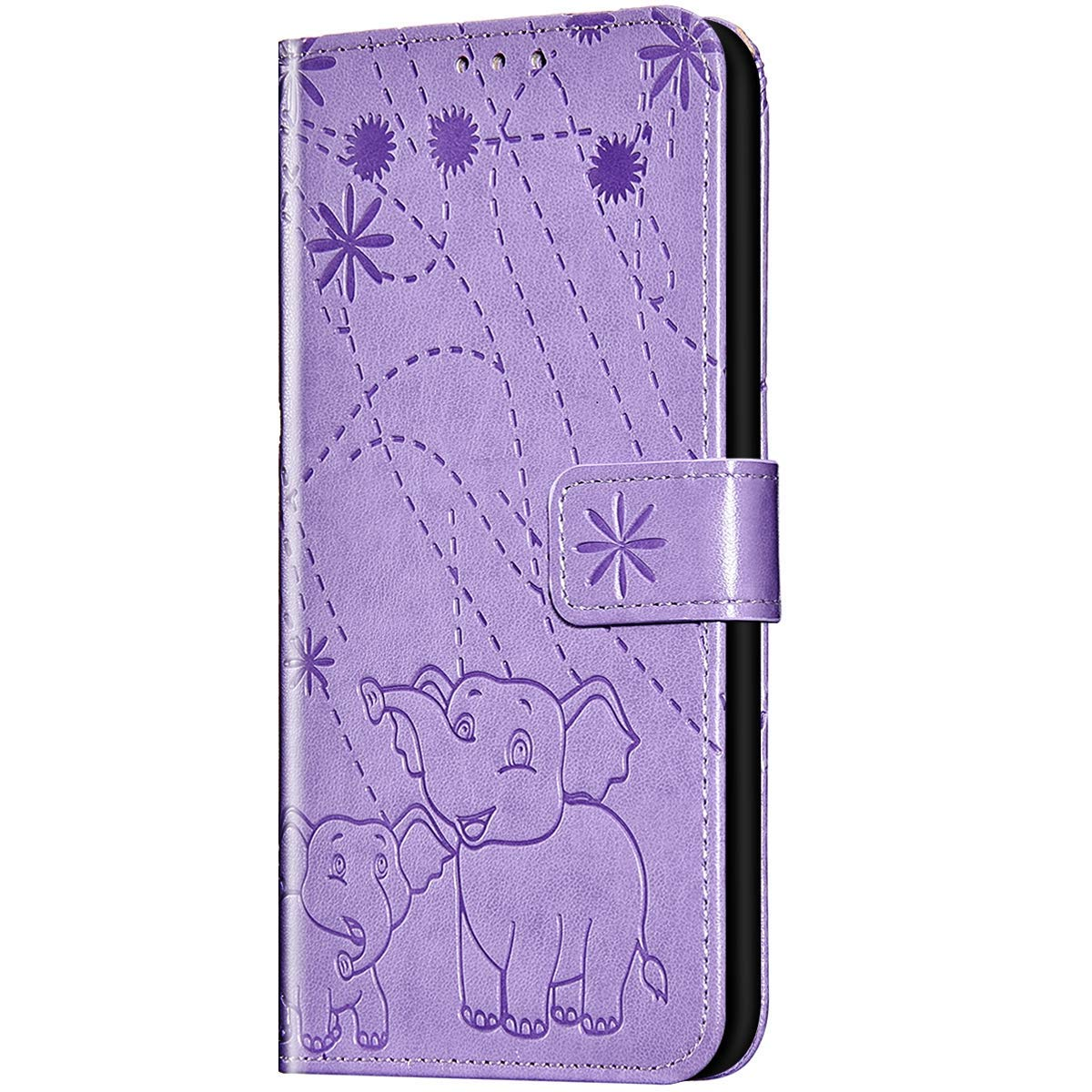 Case for Galaxy S10e Flip Case Premium Soft PU Leather Embossed with Folding Stand, Card Slots, Wristlet and Magnetic Closure Protective Cover for Galaxy S10e,Light purple by ikasus
