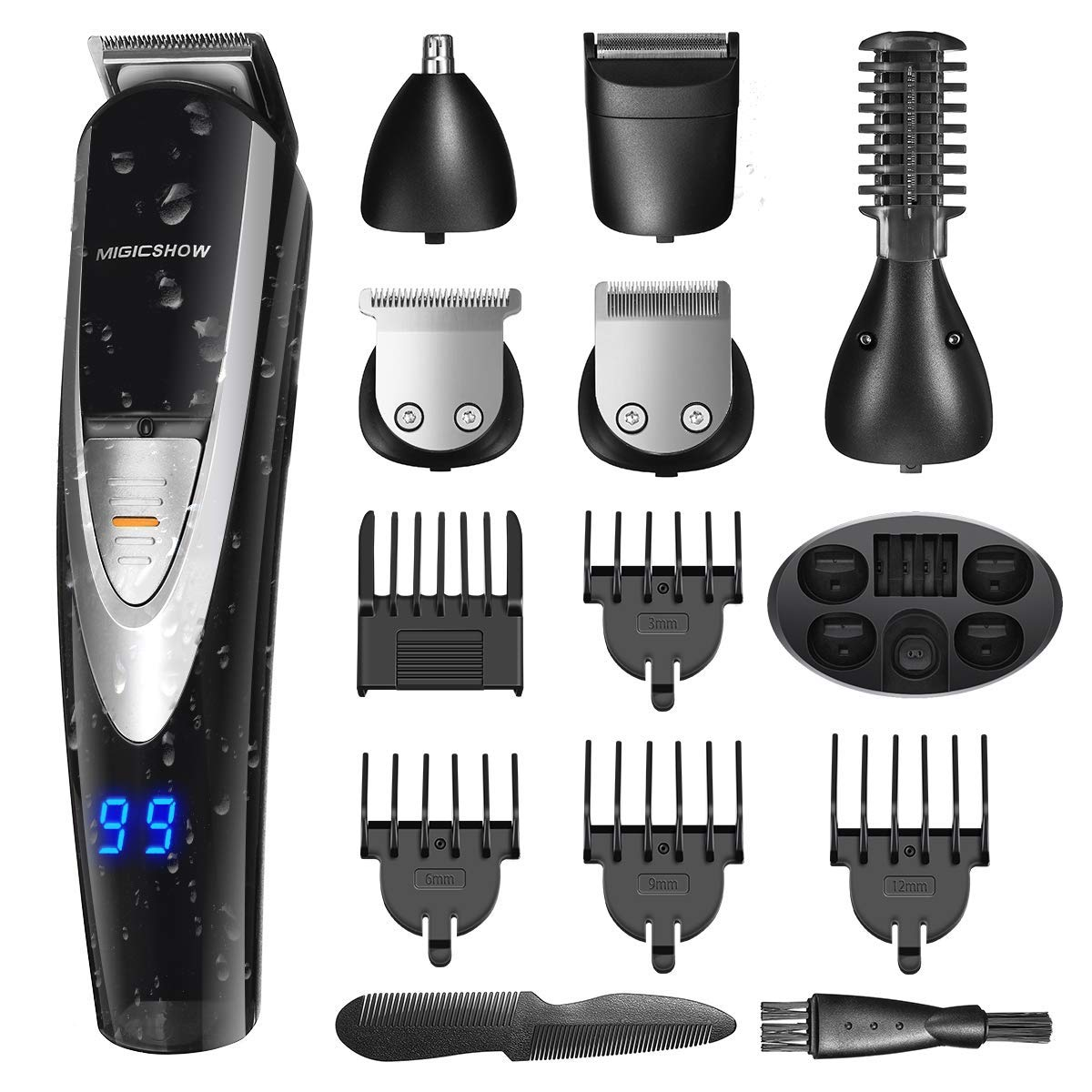 12-in-1 Men's Electric Beard Trimmer Kit, Multi-Functional Waterproof Trimmer Grooming Kit