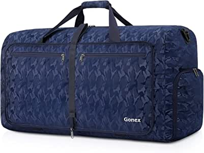 Gonex Foldable Travel Duffel 60L, Packable Luggage Duffle Bag Lightweight Water Repellent & Wear Resistant Black and Blue AUmouflage