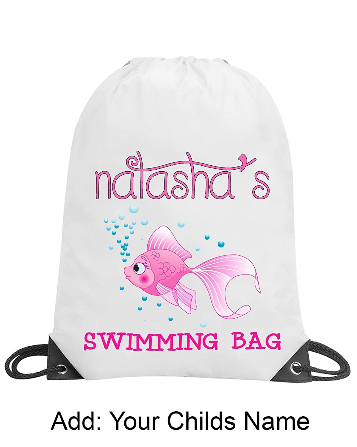 Personalised Girls Fish Pink Drawstring Gym Swimming PE Bag School Gift Any Name Shugon