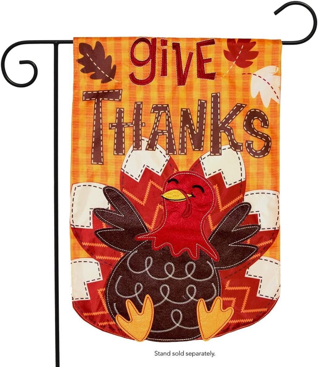 Briarwood Lane Turkey Thanksgiving Applique Garden Flag Holiday 12.5