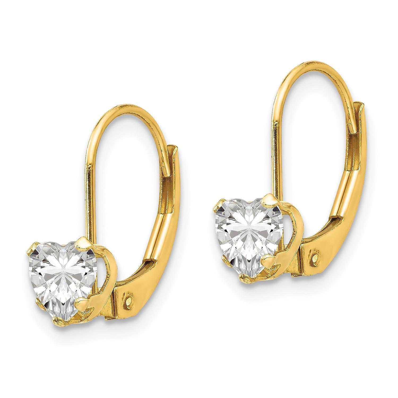 14k Yellow Gold 0.4IN Long Childs Heart Leverback Earrings