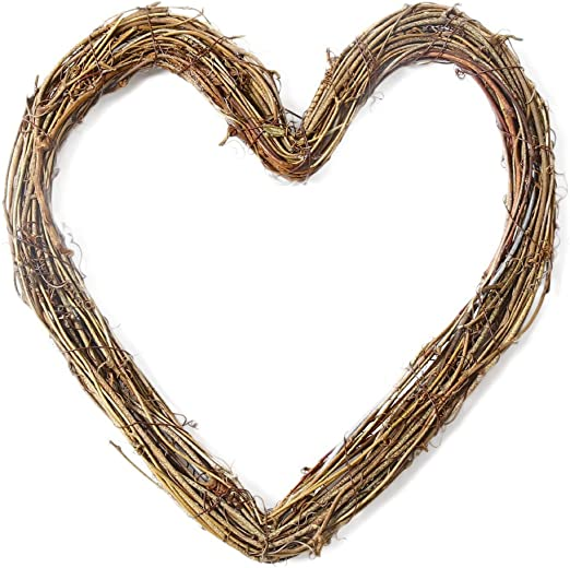 Amazon Com Outflower 3 93 Heart Shape Grapevine Wreath For Home