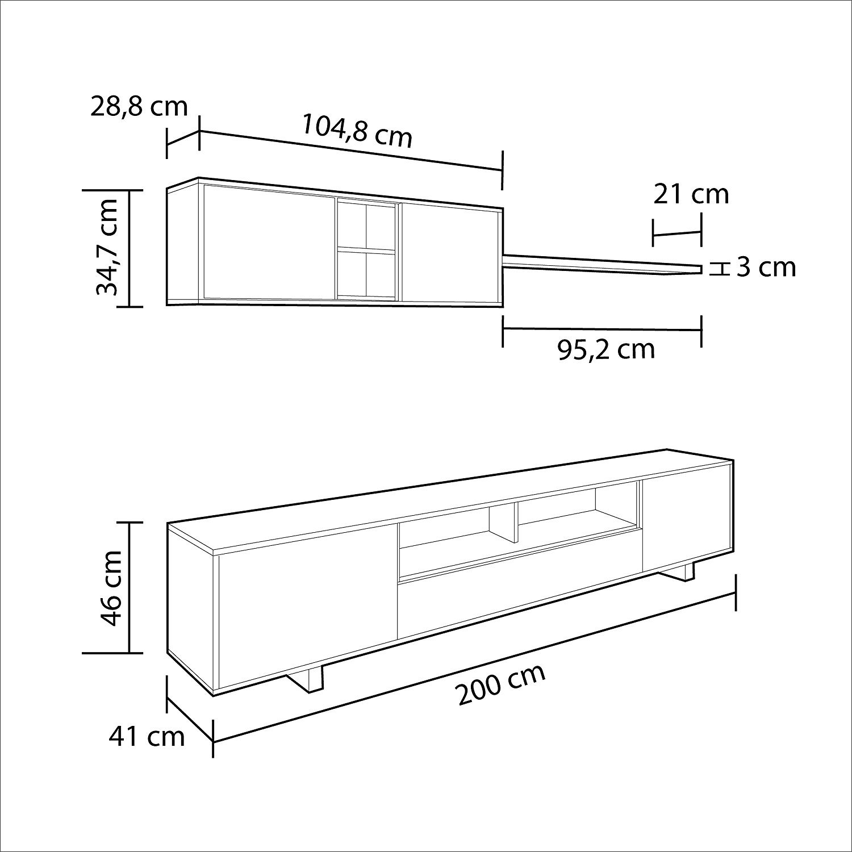 Misure habitdesign/-/Mobile da salotto Moderno moduli sala da pranzo belus 200/cm x 41/cm di profondit/à