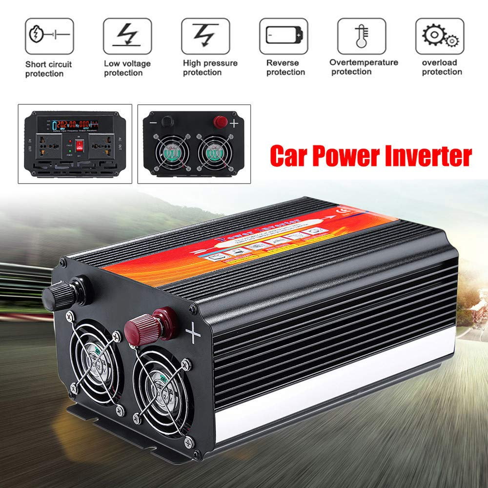 Alelife 8000W Car Power Inverter 12/24V to 110/220V Sine Wave Converter with Blade Fuses 2pcs Blade Fuses Overload Protection, Overheat Protection by Alelife (Image #1)