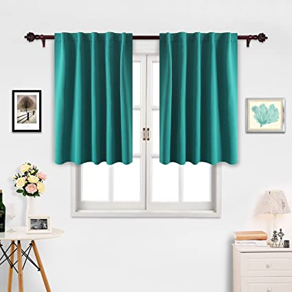 Deconovo Turquoise Blackout Curtains For Bedroom Thermal Insulated Rod Pocket And Back Tab 42x45 Inch