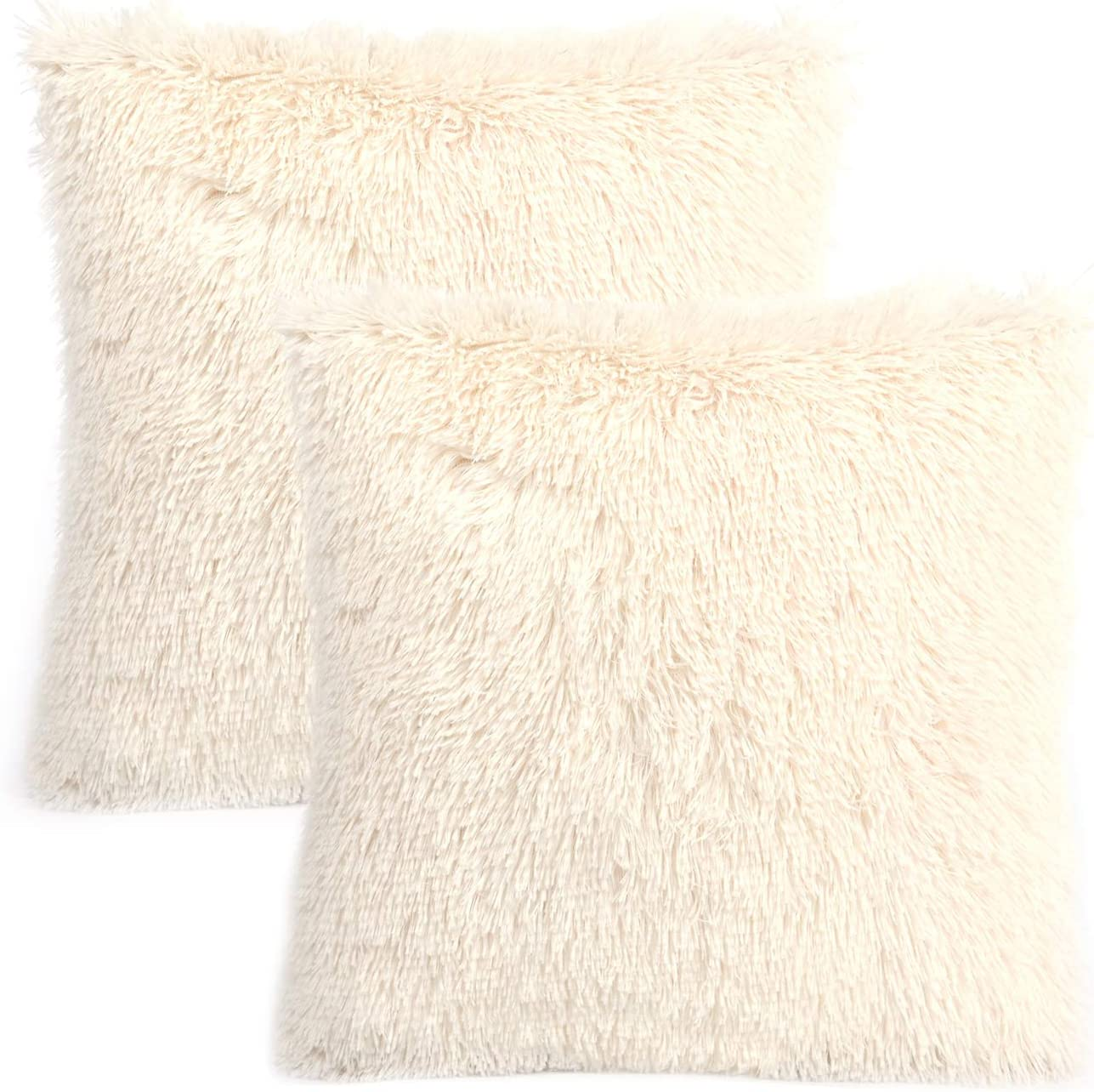 """YOUR SMILE Pack of 2, Decorative Plush New Luxury Series Merino Style Faux Fur Throw Pillow Case Cushion Cover 18"""" x 18""""(Ivory,White)"""