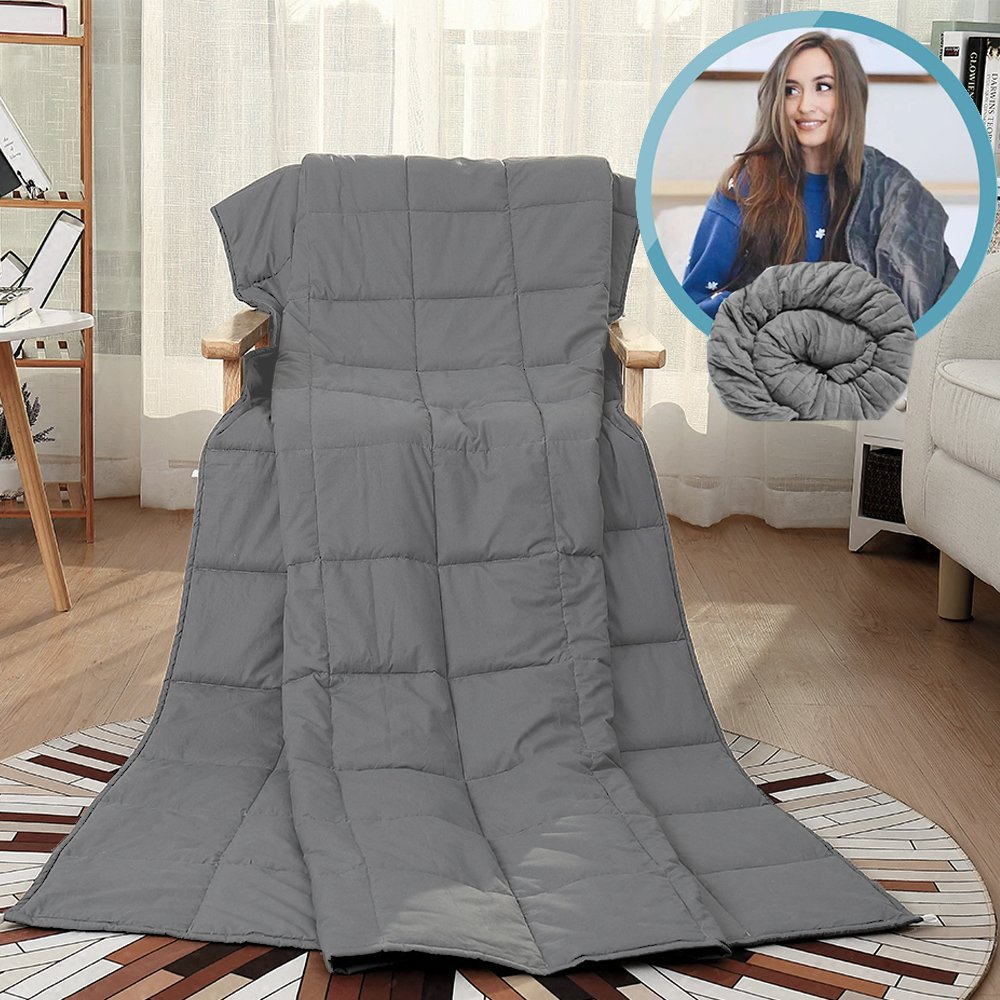 Witlucky Weighted Blanket for Adults, Stress and Anxiety Relief, Improve Sleep Quality, Great for ADHD, Autism, OCD and Sensory Processing Disorder (Grey, 60x80 inch,17 lbs) by Witlucky (Image #1)