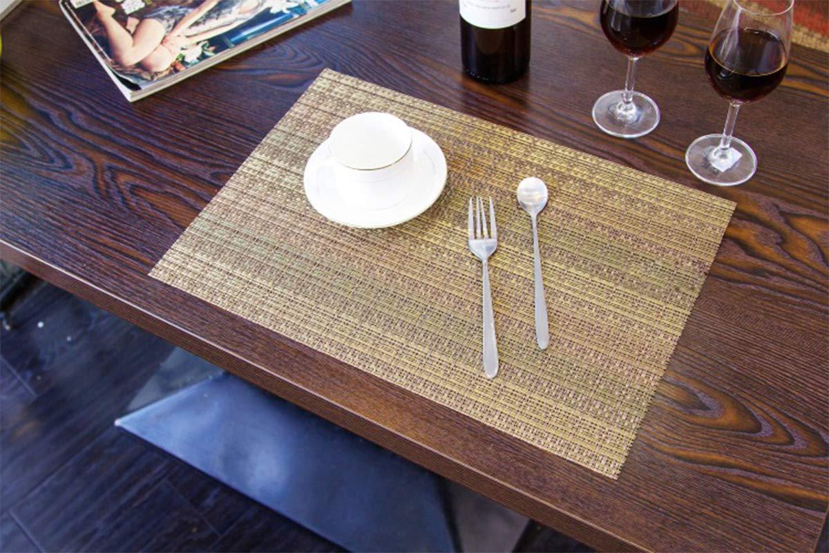 Color marr/ón Xiaoyu manteles Individuales Tejidos de PVC Lavables y Antideslizantes para Mesa de Comedor Juego de 4