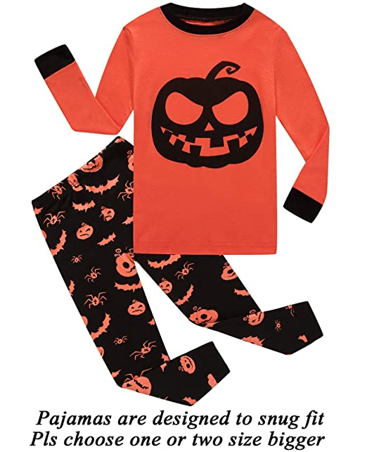235aefd4c Amazon.com  Boys Christmas Pajamas Halloween Skeleton-Glow-in-The ...