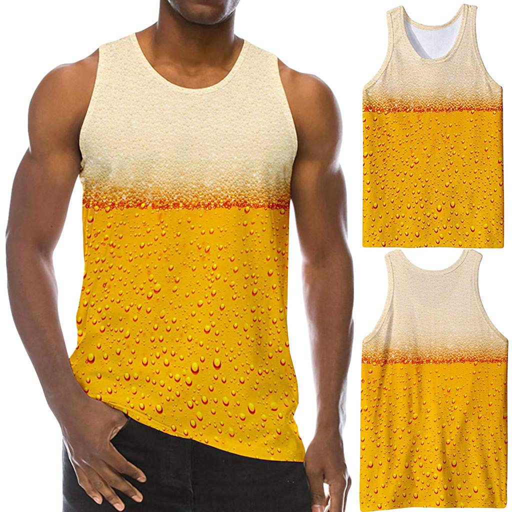 STORTO Mens Athletic Workout 3D Printed Tank Top Mesh Dry Fit Casual Sleeveless Shirts
