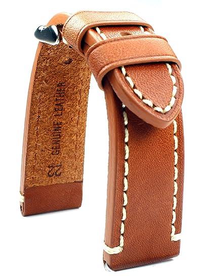 Banda de cuero 22 mm banda catal onia Planeador Relojes Retro Strap Light Brown/marrón claro: Amazon.es: Relojes