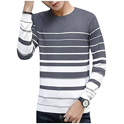 Abetteric Mens Printed Striped Crewneck Cozy Pullover Knitting Tunic Top