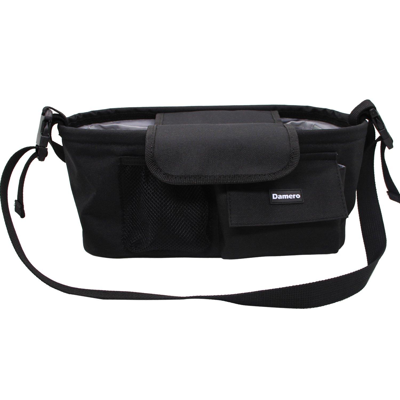 Damero Pram Buggy Buddy Stroller Organiser Storage Bag with Mobile Phone Holder /& Rain Cover /& Shoulder Strap Gray Dots-New Version Water Resistant Great for Bike or Car Seat Organiser