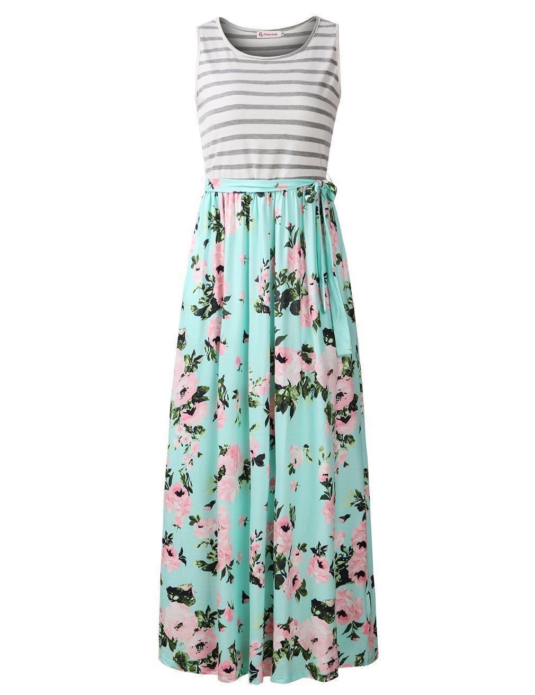 FANVOOK Juniors Dresses, Stripes Patchwork Long Floral Maxi Dresses with Tie Tall GP L