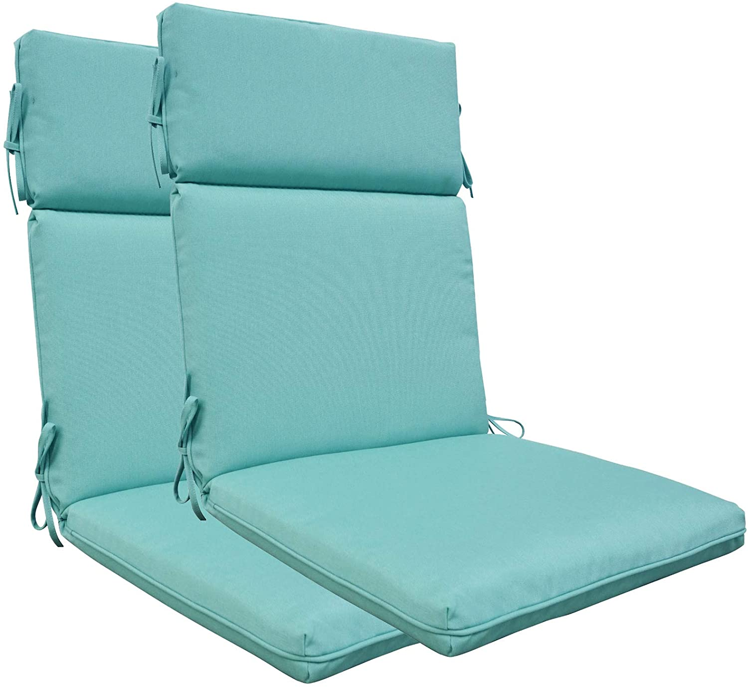 BOSSIMA Indoor Outdoor High Back Chair Cushions Replacement Patio Chair Seat Cushions Set of 2 (Olefin Light Blue)