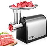 Aicok Electric Meat Grinder, Sausage Maker with Reverse Function and Powerful Suction Base, Heavy Duty Food Grinder with Stainless Steel Grinding Blades, Labour-saving Grinder for Meat, Vegetables