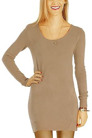 bestyledberlin Damen Kleider, Pulloverkleid, Langarm Strickkleider, Langes Pullover  Oberteil t64z beige S  c0aebc8b8e