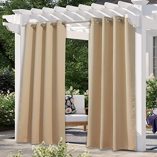 W52 x L95 1 Pack Thermal Insulated Sticky Top Tab Sunlight Block Balance Summer Heat /& Winter Cool Weatherproof Divider for Cabana Greyish White NICETOWN Outdoor Curtain Waterproof Patio Blinds