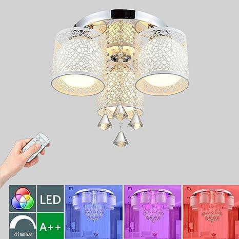 LED Regulable RGB Lámpara de Techo Moderno Diseño Cristal ...