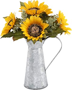 "Flora Bunda Artificial Flowers 13"" Tall Yellow Sunflowers in Watering Tin"
