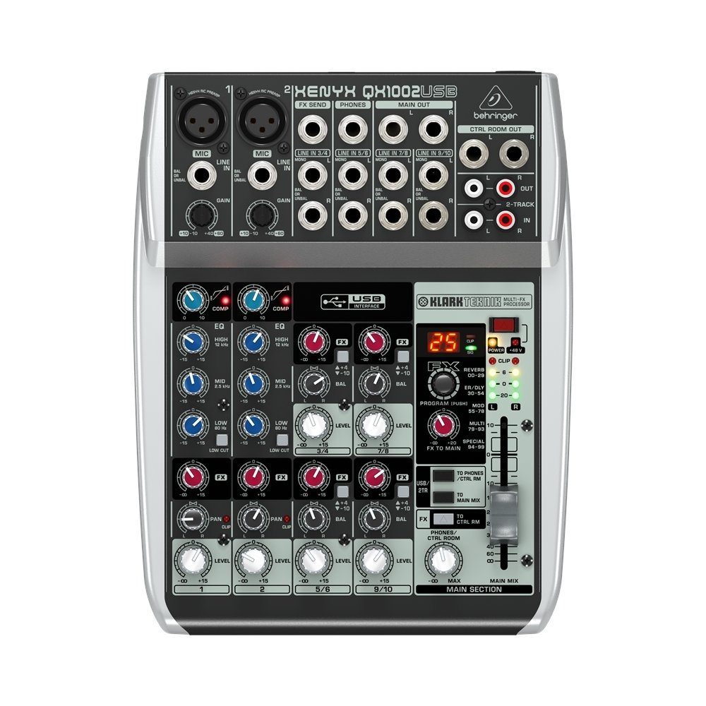 Behringer QX1002USB - Mixer a 10 Ingressi Con Interfaccia Audio + Processore Effetti Per Studio, Karaoke, Live, Ecc. XENYX QX1002USB