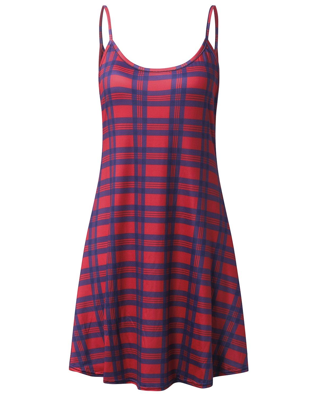 Auxo Women's Sleeveless Cover Up Casual Sun Dress Summer Beach Tank Cami Dress Red grid S