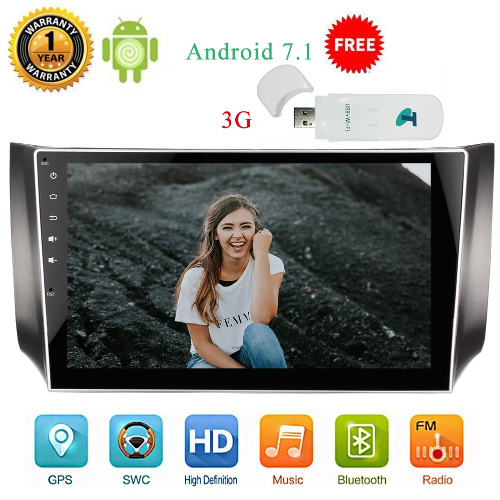 3G Dongle as gift,Upgrade Android 7.1 Car DVD Player Double Din Car Stereo with Touch Screen 10.1