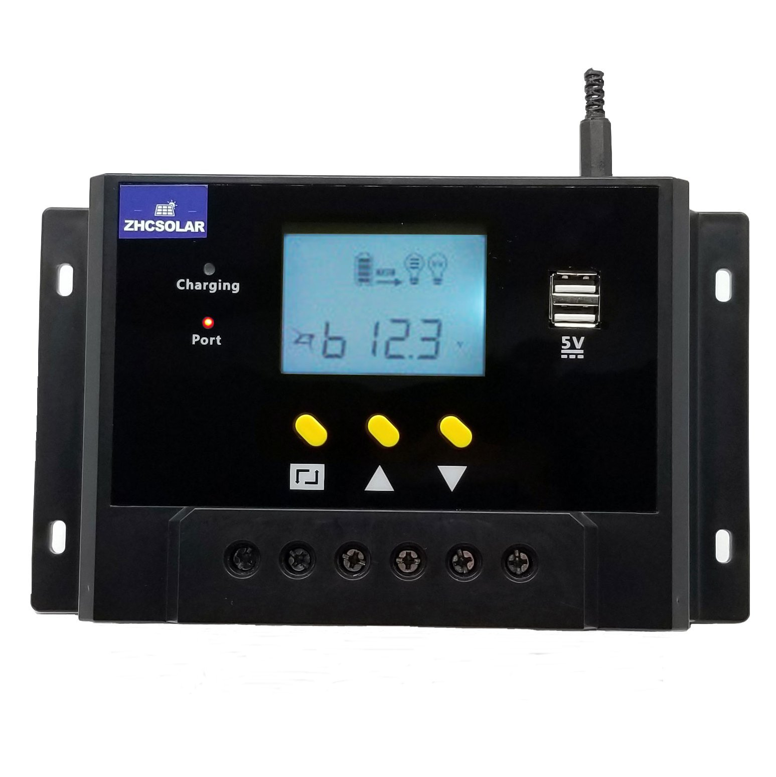 60A Solar Charge Controller 12V 24V Autoswitch 5V Dual USB Output Blacklight LCD Display 1440W Solar Panel Charging Regulator Anti-Flaming Housing Large Power Heat-Sink