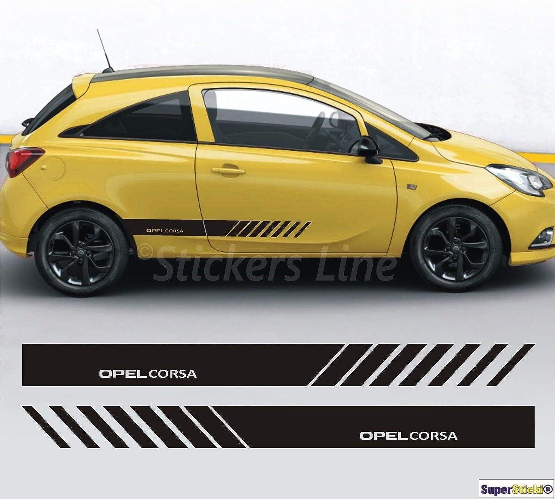 Supersticki Opel Corsa Seitenstreifen Auto Aufkleber Aufkleber Sticker Decal Aus Hochleistungsfolie Aufkleber Autoaufkleber Tuningaufkleber Racingaufkleber Rennaufkleber Hochleistungsfolie Auto