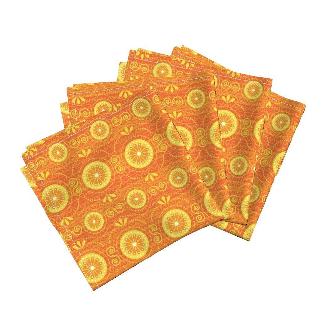Orange Retro Stripe Funky Citrus Stripes Linen Cotton Dinner Napkins Solar Blossoms by Robyriker Set of 4 Dinner Napkins