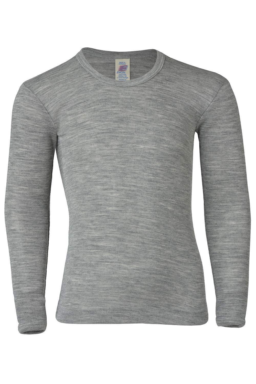 Kids Long Sleeve Thermal Shirt: Base Layer or Pajama Top, Organic Merino Wool Silk, Sizes 2-13 years (EU-116   4-6 years, Grey Melange)