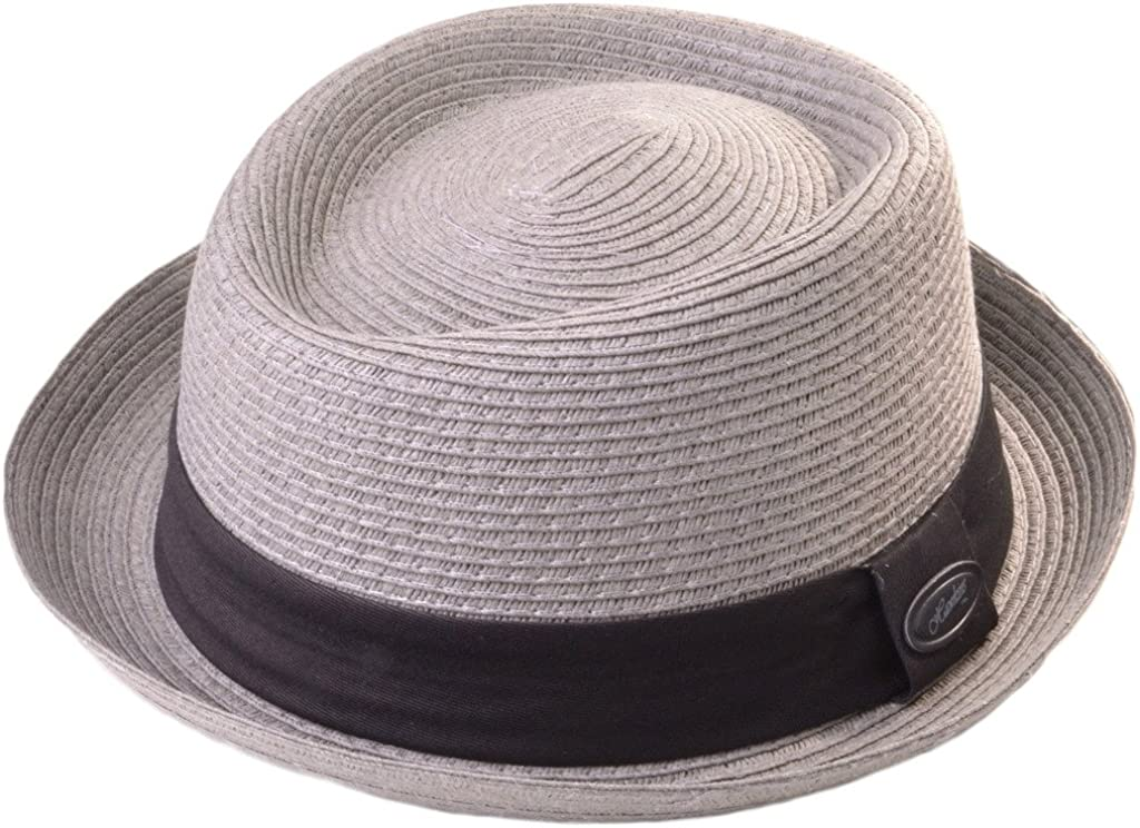 59cm, Light Grey Mens Pork Pie Trilby Hat S70