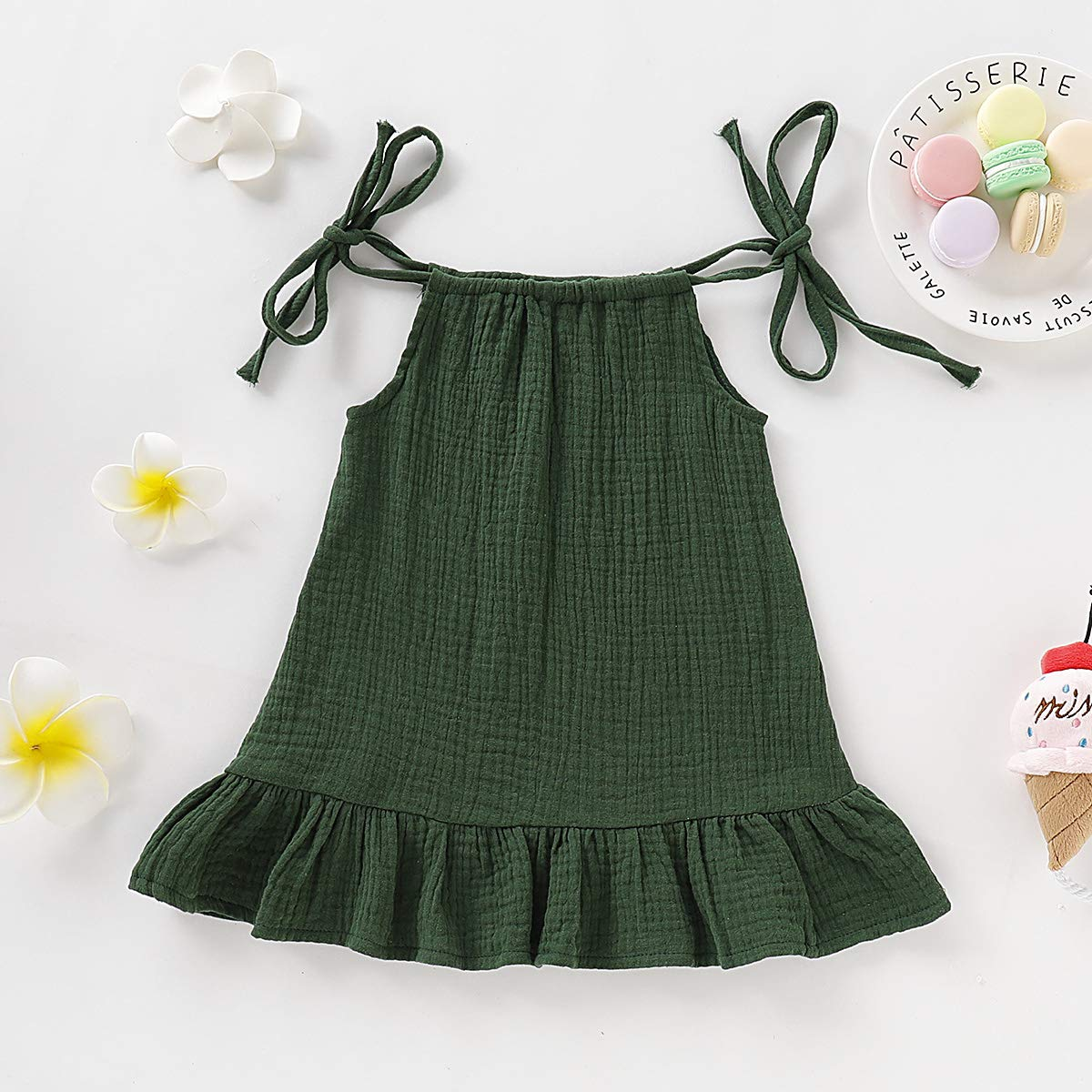YOUNGER TREE Toddler Baby Girls Solid Color Sling Dress String Bowkonwt Sleeveless Dress Skirt Outfits Clothes Summer