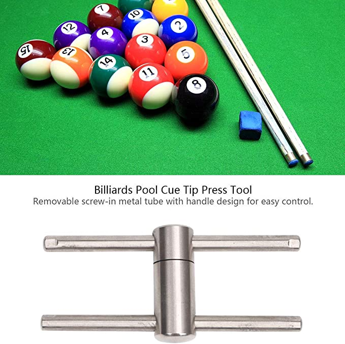 Compresor de punta de taco de billar de acero inoxidable, herramienta de prensado para taco de billar, moldeador de punta de billar apto para puntas de 11 mm, accesorios de mantenimiento: Amazon.es: