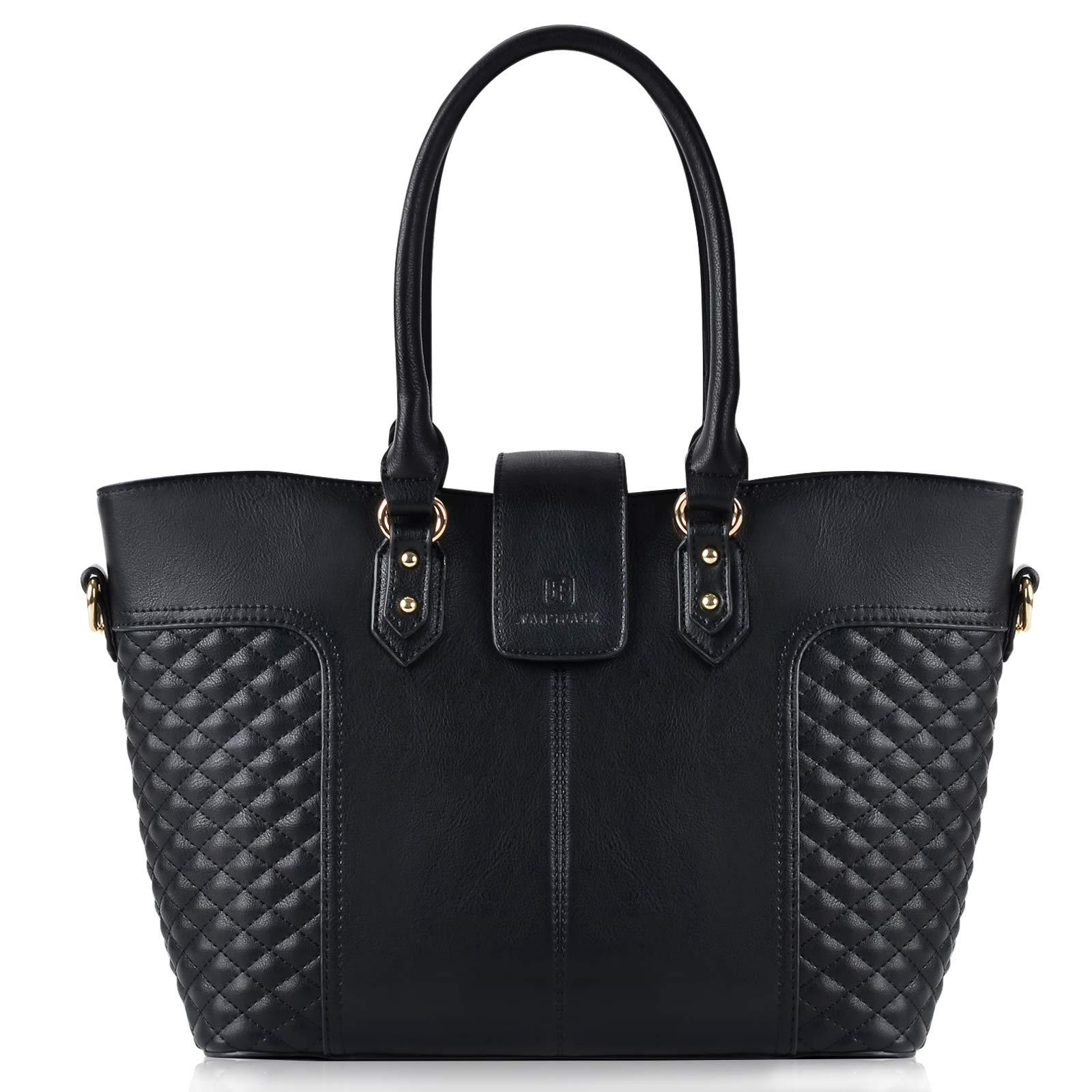 Fanspack Women's PU Leather Tote Bag Lattice Pattern Top Handle Tote Handbags Crossbody Shoulder Bag Purses and Handbags
