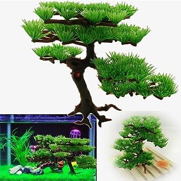 Hinmay - Árbol ornamental de plástico para pecera o acuario (accesorio acuático artificial)