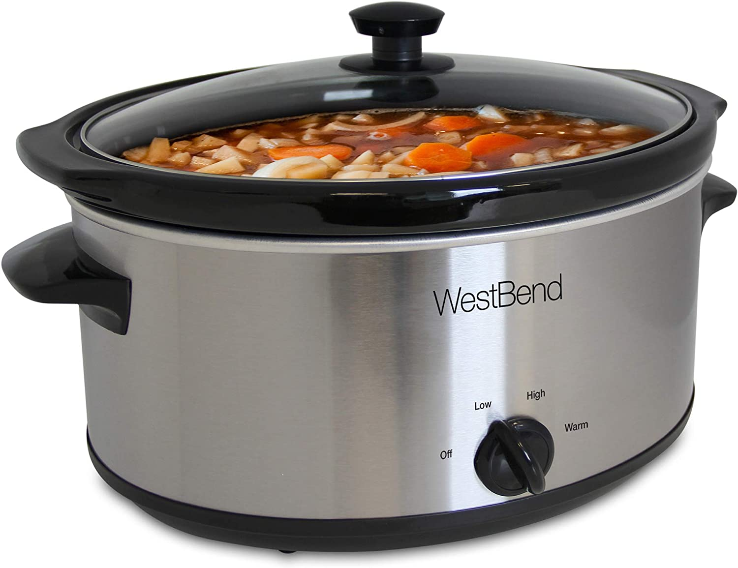 West Bend Manual Crockery Slow Cooker with Oval Ceramic Cooking Vessel and Glass Lid Certified, 6-Quart, Silver